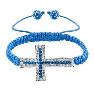 Pugster Sapphire Blue Clear White Crystal Cross String Adjustable Bracelet