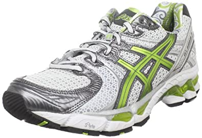 asics Women's Gel-Kayano 17 Running Shoe,Snow/Lime/Lightning,13 M US