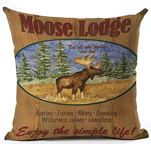 Retro Background Holiday Moose Lodge Throw Pillowcase Personalized Cushion Cover NEW Home Office Decorative Square 18 X 18 Inches