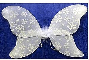 White Snow Flakes Princess Fairy Wings - Frozen Princess Elsa Costume Accessories