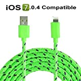 3 metre 8 Pin Charger Cable and Sync Lead,Unbreakable Braided Cable compatible with iPhone 5,5c,5s,iPad Mini, 4G,iPod Touch 5G,Nano 7G (green)