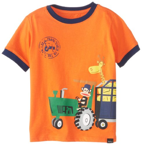 Paul Frank Boys 2-7 Tractor Tee, Caution Orange, 5