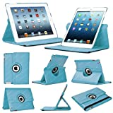 Stuff4 Leather Smart Case with 360 Degree Rotating Swivel Action and Free Screen Protector/Stylus Touch Pen for Apple iPad Mini/Mini Retina - Light Blue