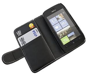 iTALKonline NERO Esecutivo Portafoglio Custodia Cover Coperchio con Carta di Credito / Porta Biglietti Per Nokia Lumia 710