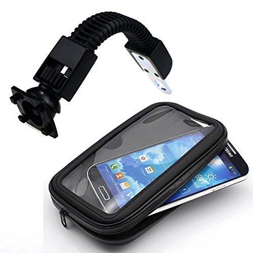 IBroz - Supporto universale per specchietto a manubrio moto, Scooter o bici, con stelo flessibile e impermeabile, per iPhone 5, iPhone 6, Samsung Galaxy S4/S5 (massima larghezza: 7 cm, altezza: 35,05 cm