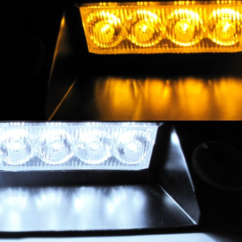 White / Amber 8 LED Police Emergency Car Boat...