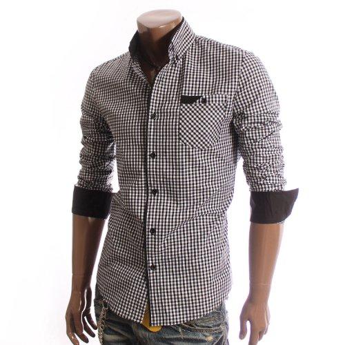 Mens Casual Check Plaid Dress Shirts BLACK(NS2
