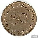 Saar Jägernr: 803 1954 muy ya Aluminio-Bronce 1954 50 frankenstein escudo de armas sobre Mina de carbón (monedas para los coleccionistas)