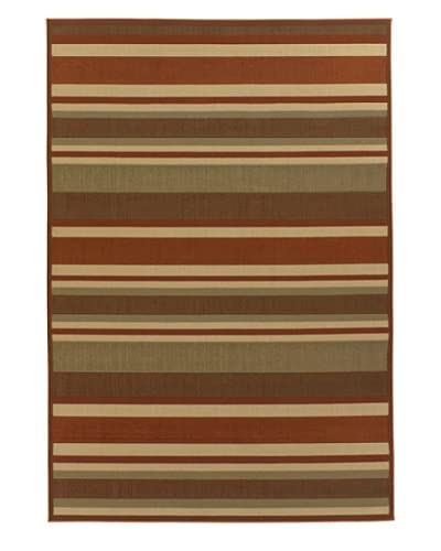 Chandra Ryan Indoor/Outdoor Rug, Burnt Orange/Sand/Olive, 5' x 8'