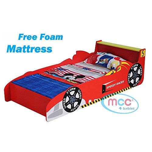 """MCC Cars Speed Junior, Toddler, Kids Bed with 4"""" Luxury Foam Mattress Made in England"""