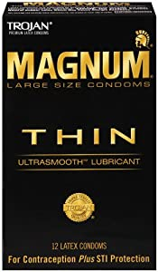 Trojan Condom Magnum Thin Lubricated, 12 Count