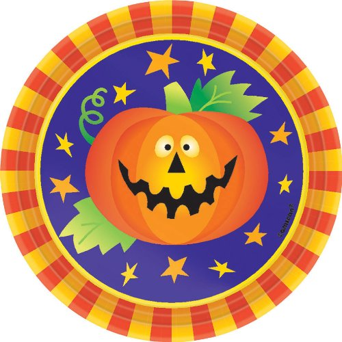 8 Ct 7 In. Friendly Frights Disposible Dessert Plates