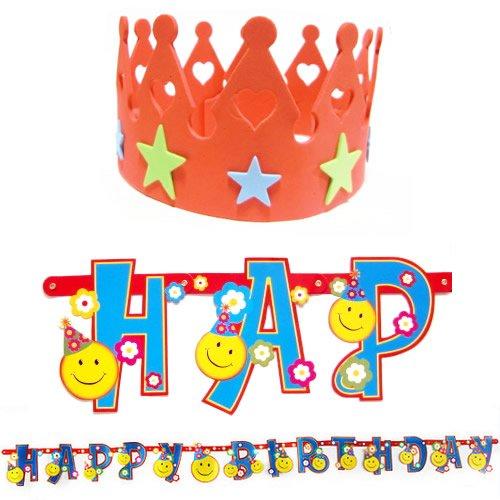 お誕生日会を素敵に演出!HAPPY BIRTHDAY ハッピーバースデーレターバナー ヘッドドレス 壁飾り DIY デコ 王冠 男の子 女の子 SARA STOREオリジナルセット 赤色