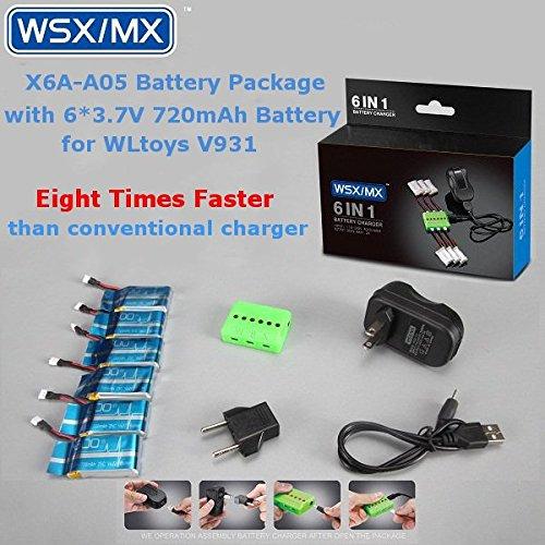Bluelover 6 IN 1 batteria pacchetto 3.7V 720mAh 25C Batteria per WLtoys V931 XK K123