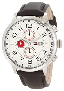 Tommy Hilfiger Men's 1790858 Stainless Steel and Leather Multi-Function White and Red Dial Watch