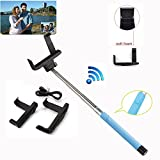 COCO-VISION Adjustable Extendable Wireless Bluetooth Arm Monopod Handheld Self Portrait Selfie Stick with Remote Shutter Function for iPhone 6 6S 5S 5C 4S 4, Samsung S3 S4 S5 Note 2 3 4, Blackberry, HTC, Sony, Nokia, LG, - Compatible with IOS 4.0/ Android 3.0(Blue)