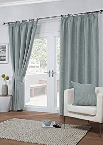 "Chenille Weave Duck Egg Blue Beige Lined 90"" X 54"" - 229cm X 137cm Pencil Pleat Curtains from Curtains"