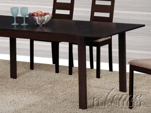 Dining Table With Extension Leaf In Dark Walnut Finish