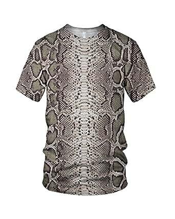 All Over Print Snake Skin Related Damen Fashion T Shirt, Mehrfarbig, XL