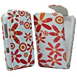 Accessory Master Leather Case for Blackberry Curve 9320 Flower Design Orange