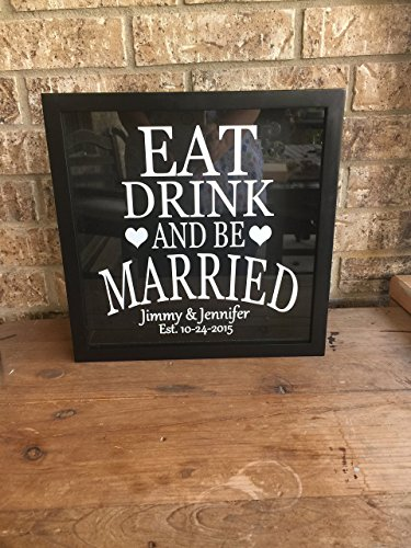 Eat Drink And Be Married Wine Cork Holder- Simple Version -can be used as a alternative guest book, great wedding gift