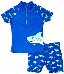 Playshoes Jungen Badeshort 460122 2 tlg. Badeset Hai bestehend aus Badeshirt und Badeshorts, UV-Schutz nach Standard 801 und Oeko-Tex Standard 100, Gr. 98/104, Blau (original )