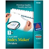 Avery Index Maker Clear Label Dividers with 5 White Tabs 25 Count (11446)