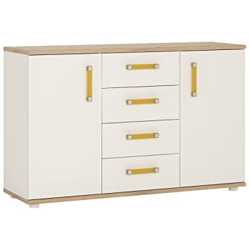 Furniture To Go 4Kids Sideboard with 4-Drawer with Orange Handles, Wood, White Gloss/Light Oak