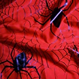 Red Satin Fabric with Large Black Spiders and Webs Patent Print Per Metre