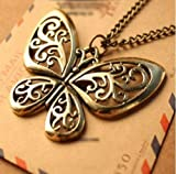 Lingstar(TM) Retro Classic vintage Bronze butterfly pendant necklace chain
