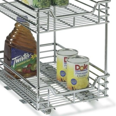 Household Essentials C21275 Two-Tier Sliding Cabinet Organizer, Chrome