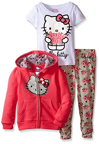 Hello Kitty Little Girls' Flower 3PC Hoodie Legging Set, New Pink, 4T