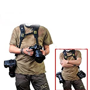 Rainbowimaging Quick Release Dual-shoulder Camera Neck Strap for Canon Nikon Olympus Pentax Panasonic Sony Dslr + Lens - Black
