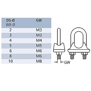 Drahtseilklemme Seilverbinder Seil Ø 2 - 10 mm Edelstahl - us18