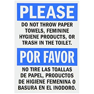 Smartsign Restroom Sign Legend Please Do Not Throw Paper Or Trash In Toilet Black Blue On