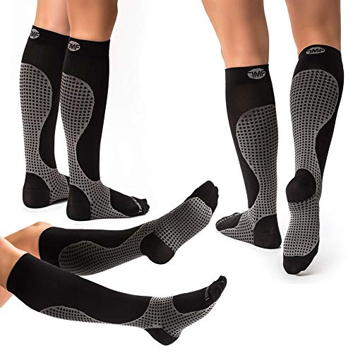 3 Pairs of Compression Socks for Women & Men Knee High Compression socks - Relieve Calf, Leg & Foot Pain - Graduated to Boost Circulation & Reduce Edema, FDA Registered, Nurse & Runner Recommended - S (Color: Black / Grey, Tamaño: Small (3 Pairs))