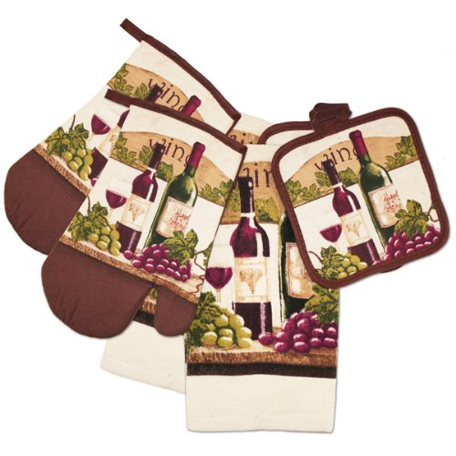 Tuscany Wine Print 6 Piece Kitchen Dish Towel by Pot Holder & Oven Mitt Set