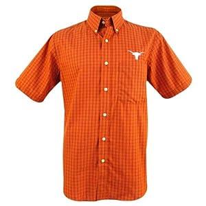 Texas Longhorns Mens Reflex Button-Down Plaid Short Sleeve Shirt by Antigua