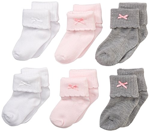 Nuby Baby Girl 6-Pack Super Soft Turn Cuff Sock Booties, 12-24 Months, Pink/Grey