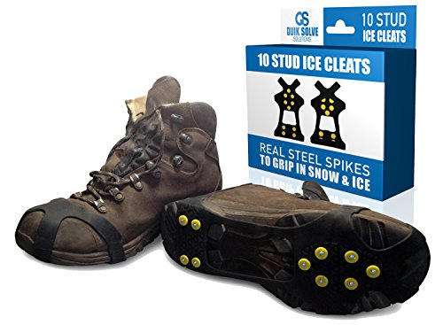 Quik Solve Ice Snow Traction Shoe Boot Cleats - No Slip Gripper Spikes Large (Snow Tires For Feet compare prices)
