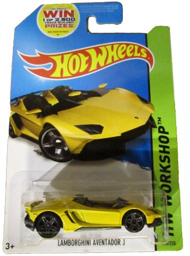 HOT WHEELS LAMBORGHINI AVENTADOR J 2014 RELEASE YELLOW, HOT WHEELS YELLOW LAMBORGHINI DIE-CAST - 1