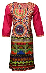 Zele Women's Cotton A-Line Kurti (Z0003-C_Multi-Colour_Medium)