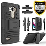 LG G4 Case, Dual Layers [Combo Holster] Phone Cover And Built-In Kickstand Bundled with [HD Screen Protector] Hybird Shockproof And Circlemalls Stylus Pen For LG G4 (Black)