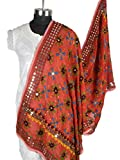 Shopatplaces Phulkari Dupatta In Vermilion Red - CPPDC31MA29