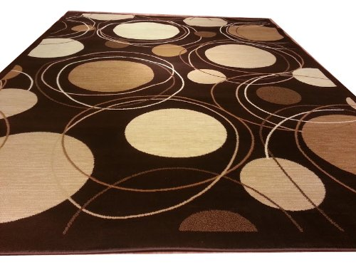 D606 Contemporary Modern Dot Circular Pattern Brown 5x8 Actual Size 5'3x7'2 Rug