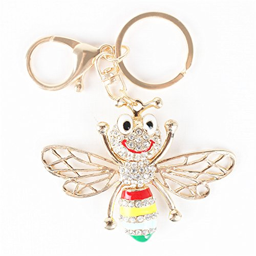 Bee Honeybee Wing Fly Charm Pendant Rhinestone Crystal Purse Bag Key Chain (Fly Accesories compare prices)
