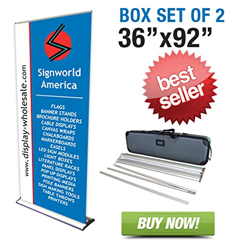 "Signworld 36"" Hd Retractable Roll Up Banner Stand (Box Of 2)"