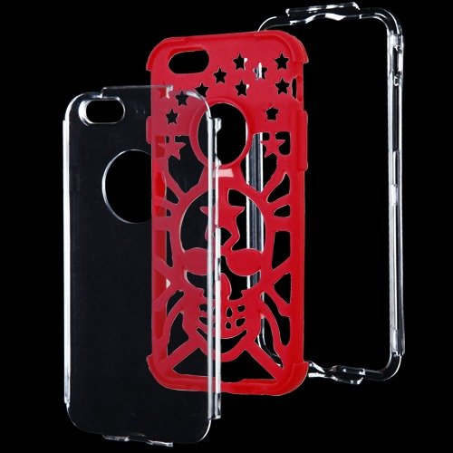 Apple Iphone 6 T Clear Electric Red Spider Hybrid Glo Cover Snap On Hard Case Cell Phone Shield Protector Shell From [Accessory Library]