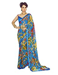 AG Lifestyle Blue Georgette Saree With Unstitched Blouse SNS232A