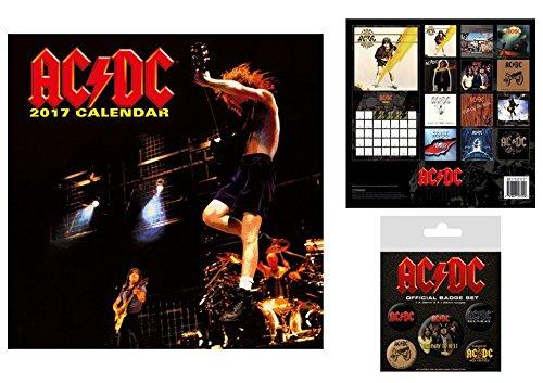 Set: AC/DC, Calendario Ufficiale 2017 (30x30 cm) e 1x Set Di Badge (15x10 cm)
